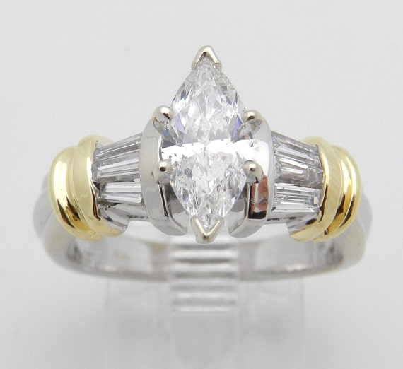 Marquise Diamond Engagement Ring 14K White and Yellow Gold 1.50 ct