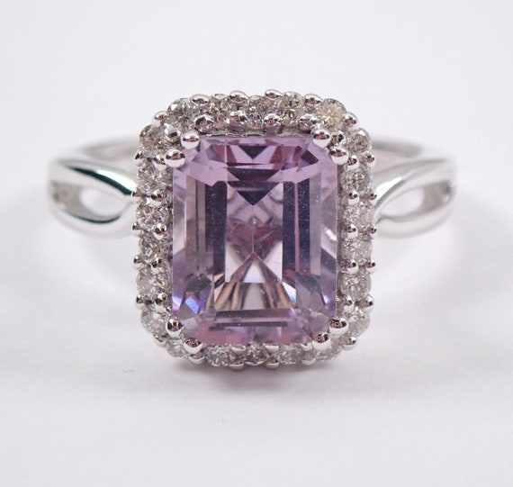 Diamond and Emerald Cut Kunzite Halo Engagement Ring 18K White Gold Lavender Light Purple Size 7 FREE Sizing