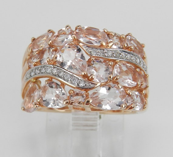 1.70 ct Morganite and Diamond Wedding Ring Anniversary Band Rose Gold Size 7 FREE Sizing