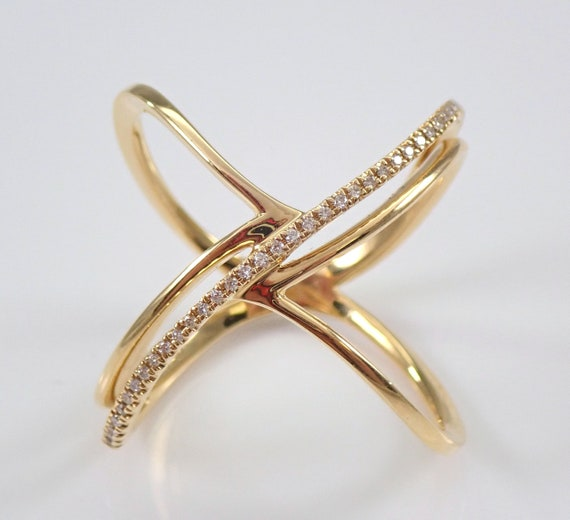 18K Yellow Gold Wide Diamond Crossover Ring Multi Row Band Size 7 Modern New