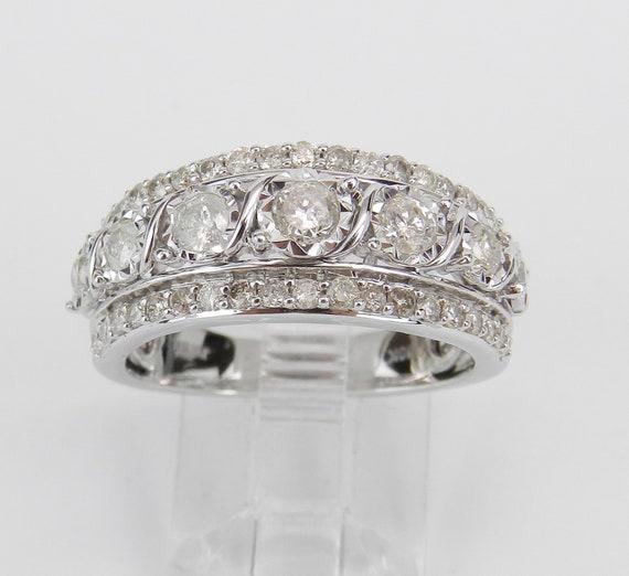 Diamond Anniversary Ring, White Gold Diamond Wedding Ring, Wide Diamond Wedding Band, Genuine Diamond Ring, Size 7