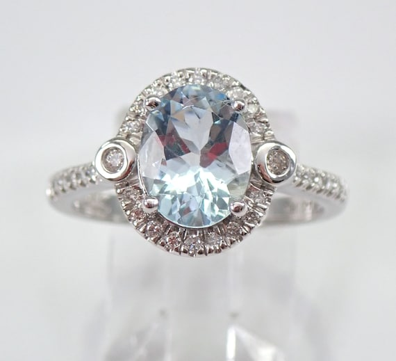 14K White Gold 2.45 ct Diamond and Oval Aquamarine Halo Engagement Ring Aqua Gem March Birthstone Size 7 Free Sizing
