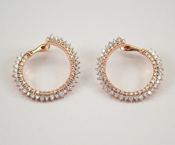 Rose and White Gold .75 ct Diamond Earrings Unique Circle Geometric Modern Design