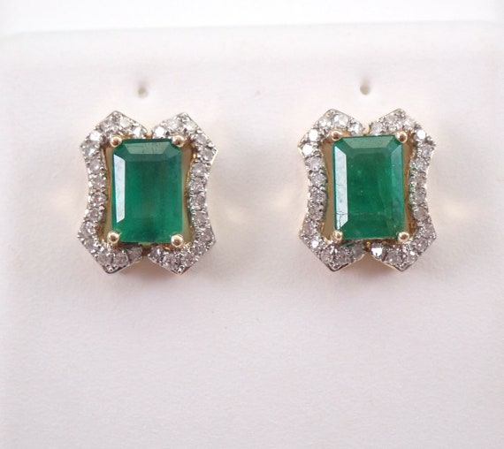 Emerald and Diamond Stud Earrings Halo Studs 14K Yellow Gold May Birthstone