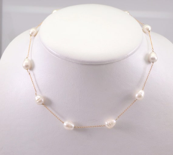 """Estate Vintage 14K Yellow Gold Potato Baroque Pearl Tin Cup Necklace Chain 15"""""""
