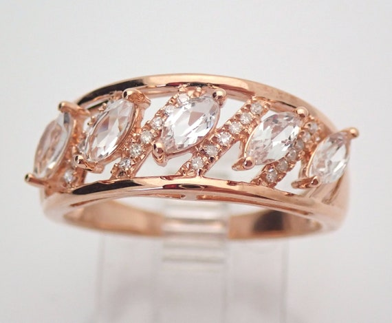 Marquise Morganite and Diamond Wedding Ring Anniversary Band Rose Gold Size 7 FREE Sizing