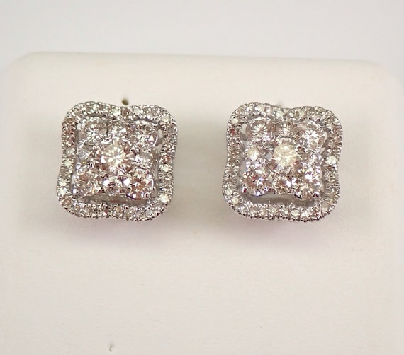 White Gold 1.00 ct Diamond Studs Cluster Cushion Halo Stud Earrings FREE SHIPPING