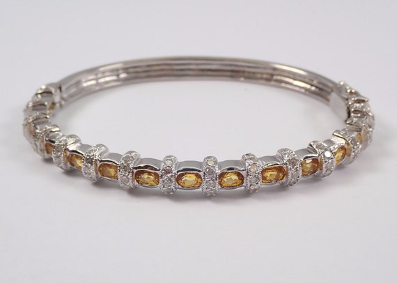 14K White Gold Diamond and Yellow Sapphire Bangle Bracelet 6.50 ct Cuff