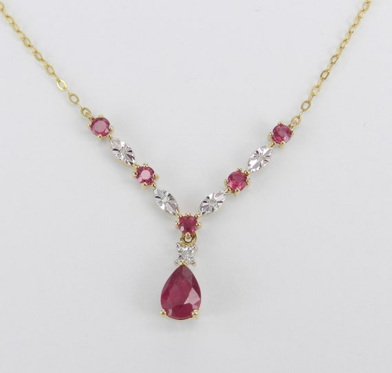 """14K Yellow Gold Ruby and Diamond V Drop Lariat Necklace Pendant 17"""" Chain"""