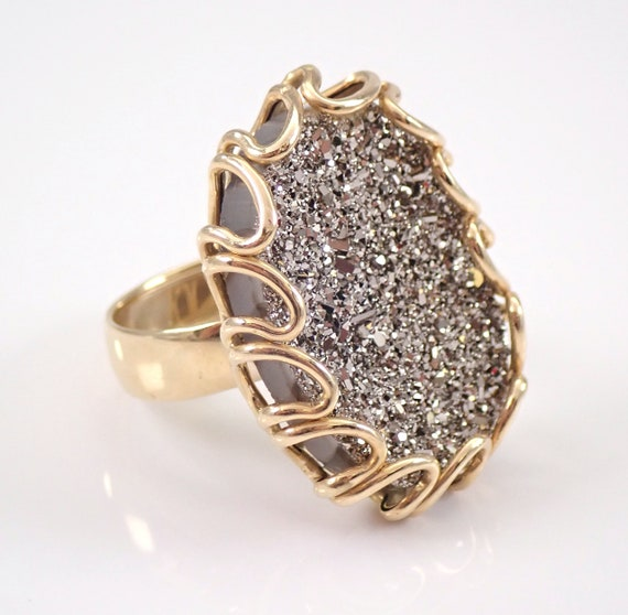Estate 14K Yellow Gold DRUZY Quartz Ring Size 6.5 Made in ITALY by MILOR