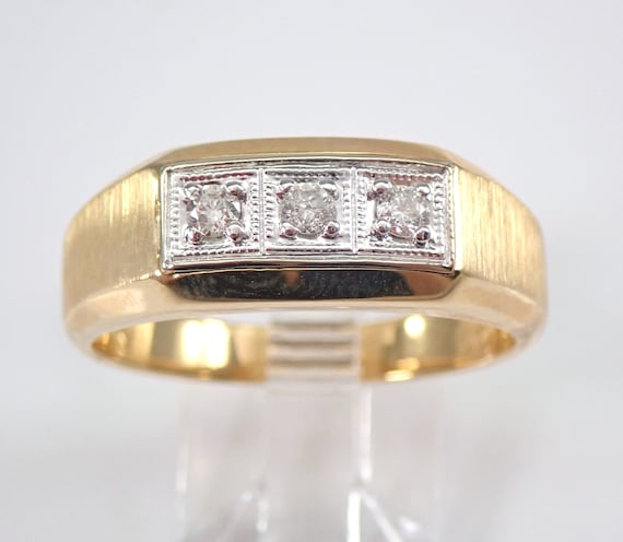 Men's Yellow Gold Diamond Wedding Ring Three Stone Anniversary Band Size 10.5