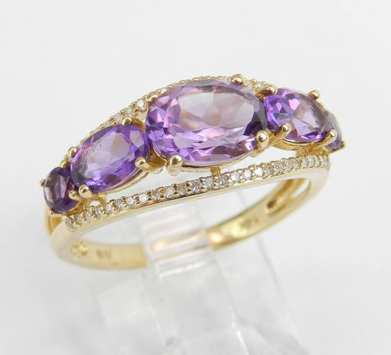 14K Yellow Gold Diamond and Amethyst Cocktail Ring Anniversary Band Size 7 Stackable Look FREE Sizing