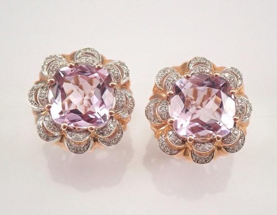7.64 ct Cushion Cut Amethyst and Diamond Earrings 14K Rose Gold February Gemstone Omega Clasp