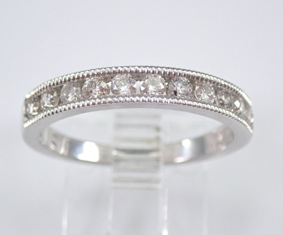 White Gold 1/2 ct Diamond Wedding Ring Anniversary Band Stackable Size 6.75 Millgrain FREE SIZING