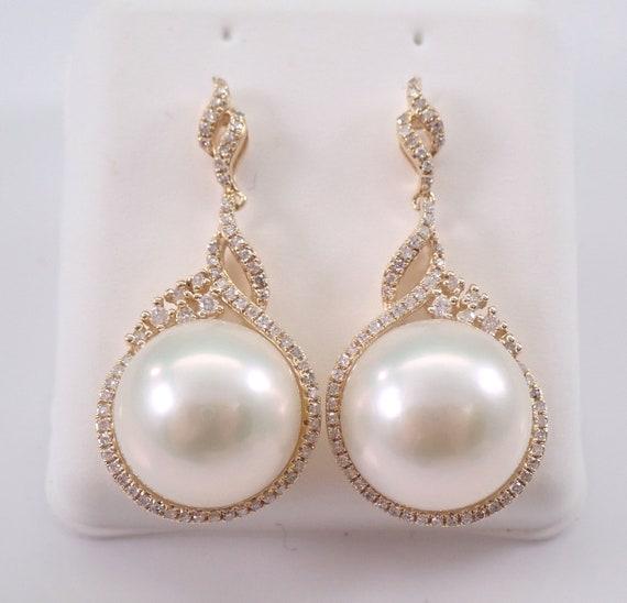 12 mm Pearl and Diamond Dangle Drop Earrings 14K Yellow Gold June Birthstone Wedding