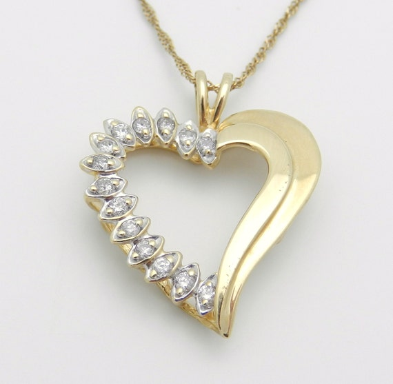 "14K Yellow Gold Diamond Heart Pendant Necklace 16"" Chain"