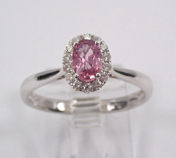 Diamond and Pink Sapphire Halo Engagement Ring 14K White Gold Size 7 Solitaire