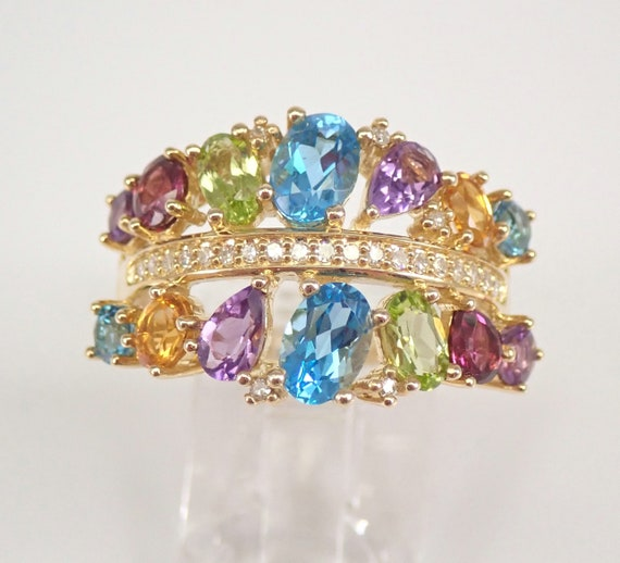 Yellow Gold Multi Color Gemstone Diamond Ring 2.20 ct Amethyst Topaz Peridot Citrine Size 7