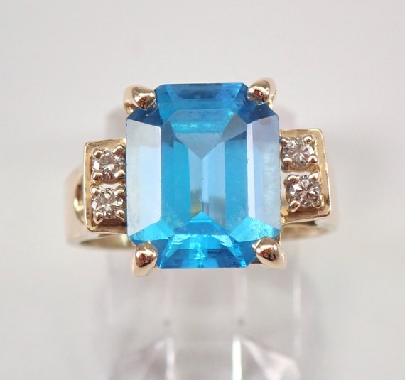 14K Yellow Gold 3.08 ct Diamond and Blue Topaz Engagement Ring Size 6