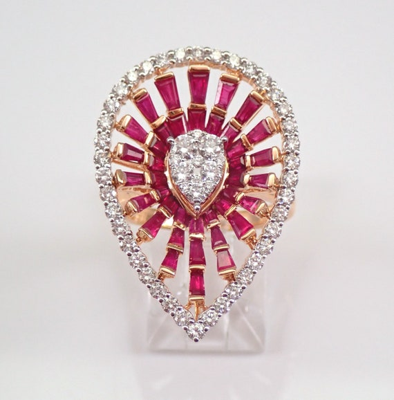 18K Rose Gold 2.63 ct Diamond and Ruby Cocktail Cluster Ring Size 7.25 MUST See FREE Sizing