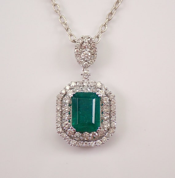 """18K White Gold 5.20 ct Emerald and Diamond Halo Pendant Necklace 18"""" Chain May Gemstone"""