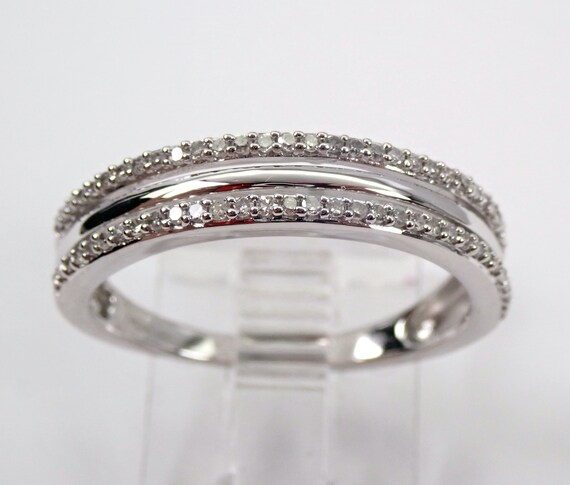 White Gold Diamond Stackable Wedding Ring Multi Row Anniversary Band Size 7