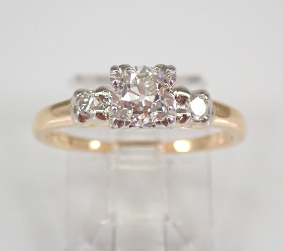 Antique Vintage Platinum and 14K Yellow Gold Old Miner Diamond Engagement Ring Size 6.25