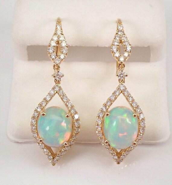 14K Yellow Gold 4.54 ct Opal and Diamond Dangle Earrings October Gemstone