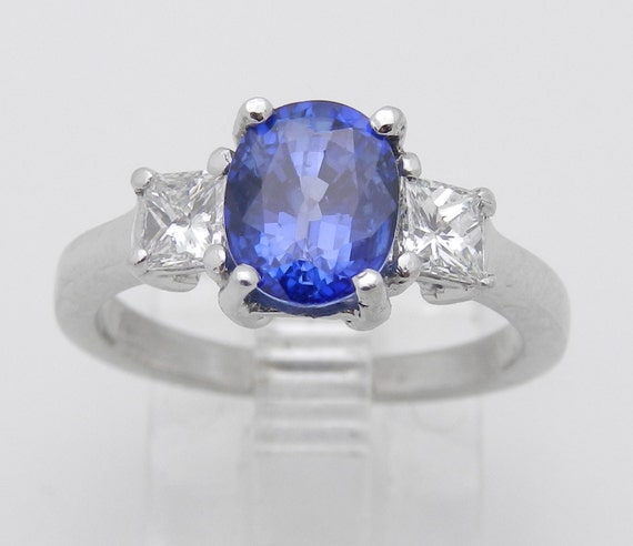 Platinum Sapphire and Diamond Ring, Sapphire Three Stone Ring, Sapphire Engagement Ring, Princess Cut Diamond Ring, Size 5.5