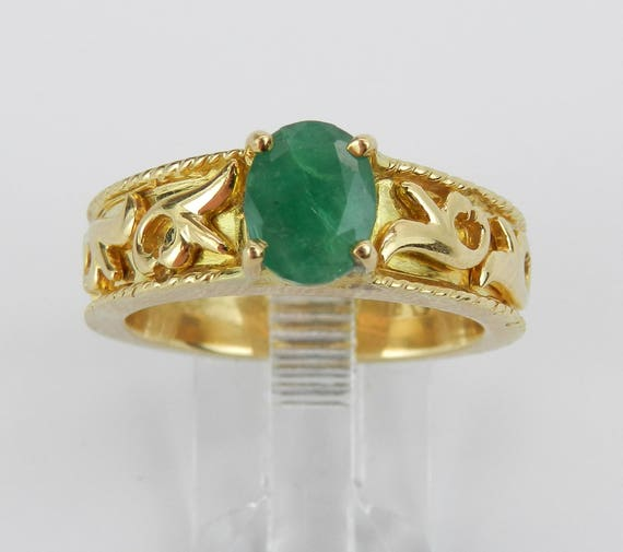 18K Yellow Gold Ring, Vintage Emerald Ring, Estate Solitaire Ring, Emerald Solitaire Engagement Ring, Size 8.5 FREE Sizing