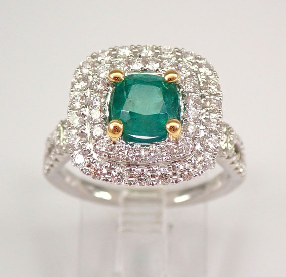 18K White Gold 2.30 ct Diamond and Cushion Emerald Halo Engagement Ring Size 6.5 FREE Sizing