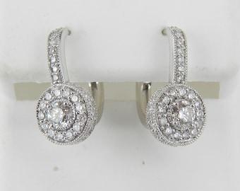 14K White Gold 1.02 ct Diamond Halo Drop Earrings Leverback Unique Handmade