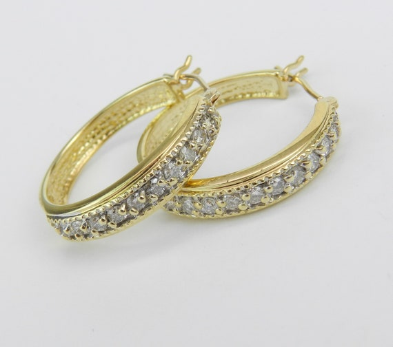 14K Yellow Gold 1/2 ct Diamond Hoop Earrings Diamond Hoops Huggies Gift