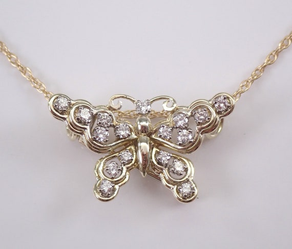 "14K Yellow Gold Diamond Butterfly Pendant Necklace 18"" Chain Estate Brooch Pin"