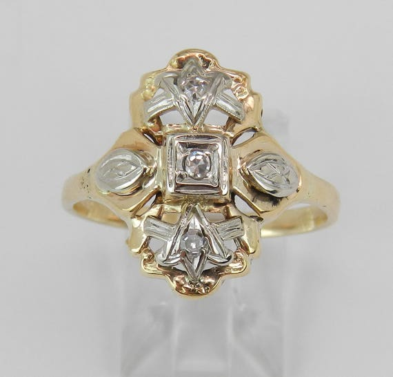 Antique Diamond Ring, Vintage Diamond Cocktail Ring, 14K Yellow White Gold Ring, Two Tone Estate Ring, Heirloom Fine Jewelry