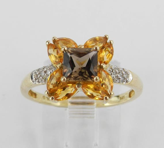Yellow Gold Flower Ring, Princess Cut Smokey Topaz Ring, Citrine and Diamond Ring, Gemstone Yellow Gold Ring, Size 7