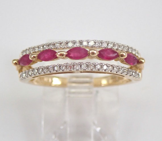 Yellow Gold Ruby and Diamond Wedding Ring Anniversary Band Size 6.75 July Gemstone FREE Sizing