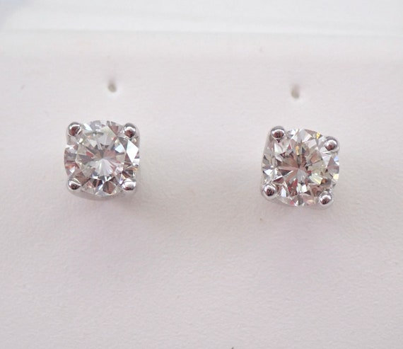 14K White Gold 1.00 ct Diamond Stud Earrings Round Brilliant Studs F VS2