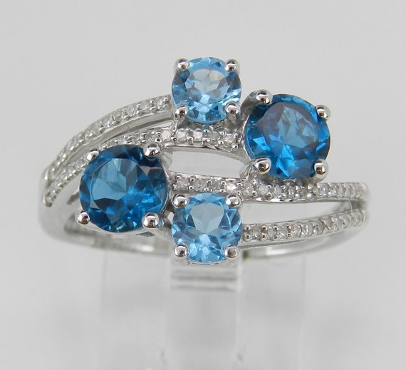 Diamond and Topaz Ring, London and Swiss Blue Topaz Ring, Blue Topaz Cocktail Ring, White Gold Topaz Ring, Size 7
