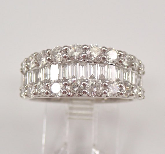 14K White Gold Round and Baguette 1.95 ct Diamond Wedding Ring Anniversary Band Size 7 FREE SIZING