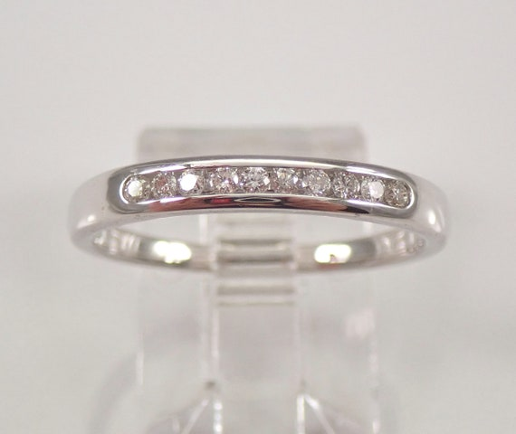 14K White Gold Diamond Wedding Ring Anniversary Band Stackable Size 7.25