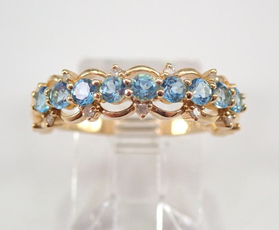 14K Yellow Gold Diamond and Blue Topaz Wedding Ring Anniversary Band Size 7 FREE Sizing