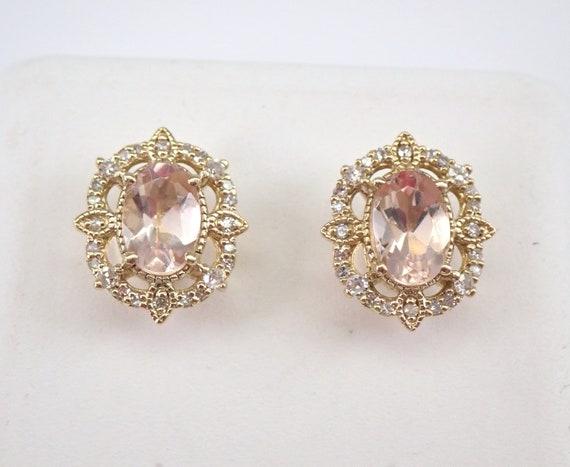 Morganite and Diamond Halo Stud Earrings Pink Aqua Yellow Gold Studs