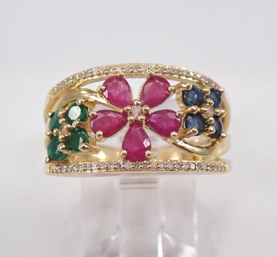 Ruby Sapphire Emerald Diamond Flower Cluster Cocktail Gold Ring Band Size 7 FREE Sizing