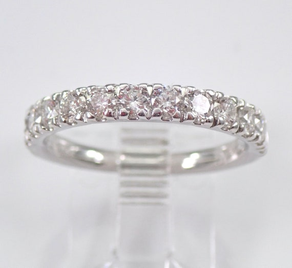 1.00 ct Diamond Wedding Ring Anniversary Band 14K White Gold Sizable Size 7 FREE SIZING