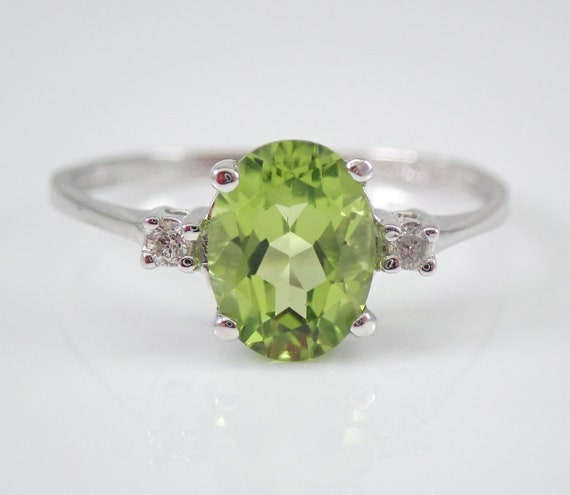 White Gold Diamond and Peridot Engagement Promise Ring Size 6.75 August Birthday FREE Sizing
