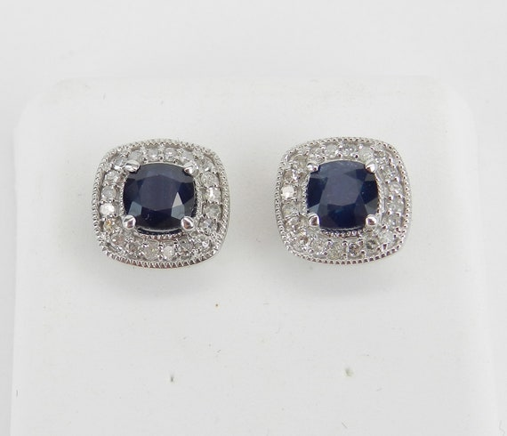 14K White Gold Cushion Cut Sapphire and Diamond Halo Stud Earrings September Birthstone Studs