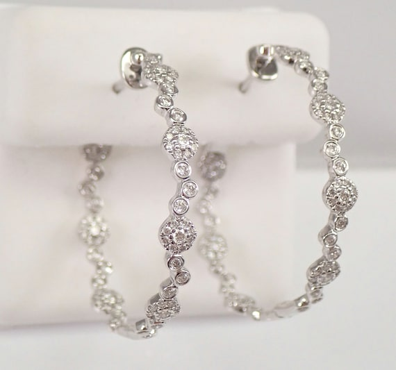 18K White Gold Diamond Hoop Earrings Halo Cluster Diamond Hoops In and Out