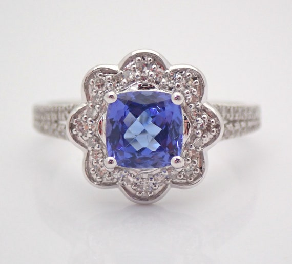 14K White Gold Diamond and Cushion Cut Tanzanite Halo Flower Engagement Ring Size 7