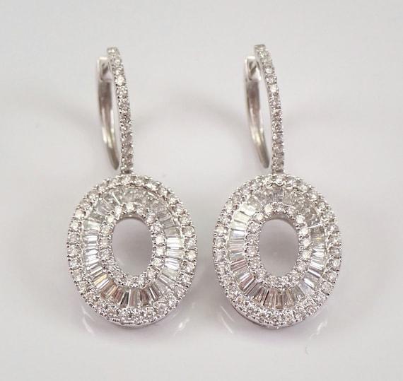 18K White Gold 2.15 ct Diamond Dangle Drop Earrings Unique Cluster Design G VS